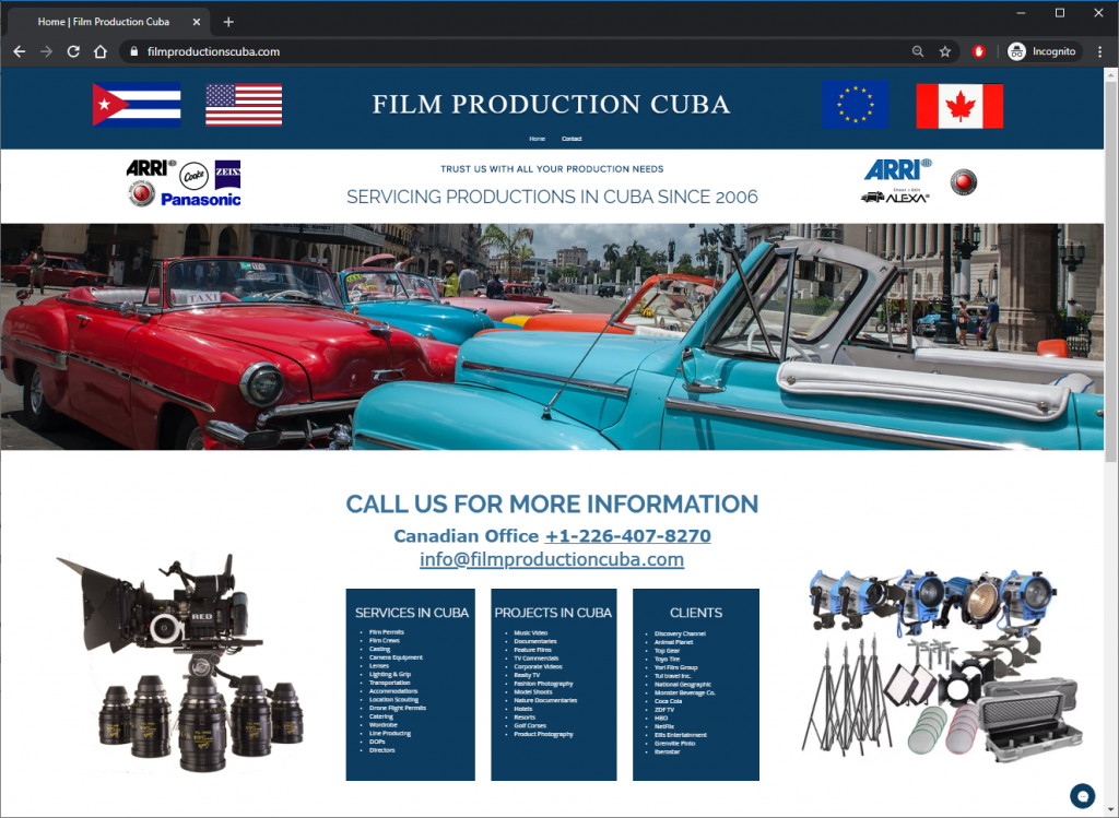 A screenshot of the Film Productions Cuba website